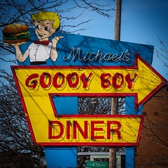 Goody Boy (tim.perdue) Tags: goody boy sign neon vintage old classic michaels short north arts district columbus ohio high street diner restaurant multicolored colorful red yellow blue