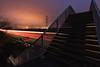 NO HARD SHOULDER FOR 000 YARDS (Rob Pitt) Tags: helsby hill m56 lightroom long exposure night dark motorway light bridge footbridge railings 750d 1018mm canon efs 1018 stanlow flare