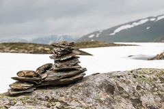 Norway   Somewhere along the road ...   2 (Hilde Carmans) Tags: spiritual zen stackedstones travel cairn balance stackingrocks stackingstones rocks rock stones stone snow landscape aurlandsfjellet norway