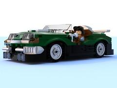 speeder.lxf (Brick picker) Tags: lego agent special race speed vintage green figurinescale figure dom black bois wood captain daniel moc ideas afol car speeder voiture legocreation legomoc