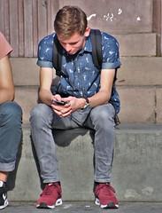 IMG_2681 (Skinny Guy Lover) Tags: outdoor people sitting sit seated guy man male dude smartphonezombie nikes nikesneakers nikeairmax slender