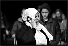 An earful (* RICHARD M (Over 7 MILLION VIEWS)) Tags: candid street portraits streetportraiture portraiture streetportraits candidportraits candidportraiture mono blackwhite headscarf muslim muslimlady expressions grimace angry anger smartphone mobilephones cellphones emotions equality thefairersex anearful angrywoman uhoh liverpool merseyside capitalofculture europeancapitalofculture maritimemercantilecity unescomaritimemercantilecity intergration multiculture multicultural strongindependentwoman strongindependentwomen womenslib womensliberation disdain
