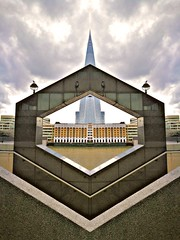 Shard Symmetry (35mmMan) Tags: picsart london bridge hospital shardlondon shard mirror effect manipulation huaweip9plus angles architecture symmetry framing