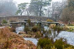 Postbridge, Dartmoor. (Keith in Exeter) Tags: dartmoor nationalpark postbridge devon bridge clapperbridge stonework arch span ancient tin river crossing eastdart tree mist grass gorse landscape water stream