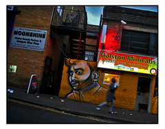 STREET ART by CARLEEN DE SOZER (StockCarPete) Tags: careendesozer streetart londonstreetart urbanart graffiti uk london nightshot movement pavement dalston dalstonminicabs moonshine signs