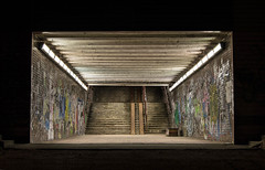 The dark hole   Bratislava   Slovakia (lofofor) Tags: graffiti bratislava slovakia ba darkhole schody schodisko tunel tunnel unknown stairs night dark neon neontube city mesto nočné noc tma light citylight downtown citylife abandon street podchod slovensko