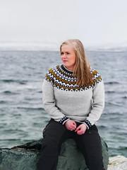Ingvild (livsillusjoner) Tags: outdoor outside girl girls woman women pretty beautiful blonde sea ocean water blue white wool knit knitted black landscape view portrait people face faces