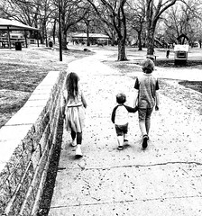 Sibling stroll (Pejasar) Tags: kids park walk stroll children blackandwhite bw tulsa lafortunepark grandkids siblings