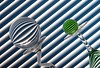 Circles & Lines (Karen_Chappell) Tags: circle ball round orb sphere green blue lines geometry abstract geometric glass stilllife two 2 refraction tilt angle diagonal line