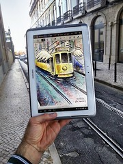 Project with Samsung Note in Lisbon (Ben Heine) Tags: pencilvscamera with tablet lisbon samsung samsungnote portugal improvisation project drawing tram tramway street hand