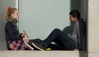 Is it love? Two students at the UPF, Campus Ciutadella, Barcelona.