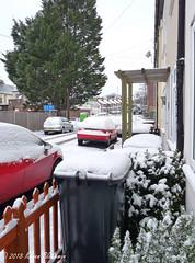 March 18th, 2018 Here we go again - more snow (karenblakeman) Tags: caversham uk starroad snow wheeliebin cars 2018 2018pad march reading berkshire