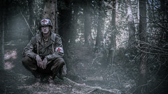 War is Hell (Oepen-Fotografie) Tags: reenactment soldier us medic sani doc help landscape wood forest fog people trees ground hell waiting belive pray god alone sun light war ww2 germany hope darkness hurt