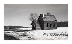 First Barn (VanveenJF) Tags: manitoba nikkormat ft2 epson ilford fp4 scan winter barn church derelict bw film old structure canada v550 landscape blackandwhite nikon