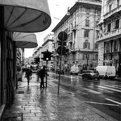 """Wet Street"" (giannipaoloziliani) Tags: hdr citylife monochrome monocromatico italia italy nikonphotography nikon nikoncamera darkness dark downtown capturestreets rain genova genoa blackandwhite biancoenero streetphotography flickr"