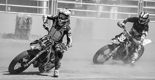 Flat track motorcycle racers