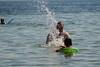 Splashing Time (Vegan Butterfly) Tags: summer outside outdoor beach lake water man person people kid child grandpa grandfather play playing fun together splash splashing