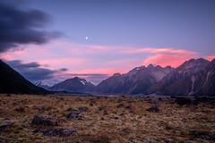 Tasman Valley Sunset (ajecaldwell11) Tags: ankh blue caldwell canterbury hooker mackenzie mountcooknationalpark mountain mtcook nationalpark newzealand norwester purple southisland sunset tasman tasmanvalley water