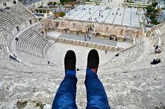 Feet Don't Touch (Pedestrian Photographer) Tags: dsc6088 mocs moccasins shoes feet legs jeans roman theatre theater amman jordan feb february 2018 eric erics ribbet