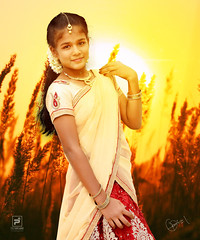 Beauty in the dusk (rkclickzography) Tags: portraits dusk sunset model pose yellow orange red traditional tamil beauty nikon ia d d750