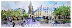 Quimper - Bretagne - France (guymoll) Tags: googleearthstreetview quimper bretagne france croquis sketch panoramic panoramique cathédrale gothique ville people personnages