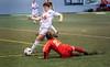 Drapeau jaune. (Patrick Boily) Tags: soccer match game partie feminin rouge or universite laval joueuse player goal but stade telus indoor interieur quebec uqtr patriotes