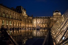 Le Louvre by Night (colors) (Cloudwhisperer67) Tags: france translucid water splendid view august 2017 clouds white louvre pyramid paris museum le musée art beautiful arts lelouvre beauty cloudwhisperer67 canon light 760d pyramide cour napoléon napoleon explore artistic architecture urban city day monument fantastic amazing blue by photography cityscape town travel trip world photo europe europa night reflection