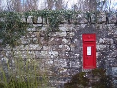 Post at Noon, Milton of Redcastle, Black Isle, Mar 2018 (allanmaciver) Tags: royalmail red letterbox letter post send collect unique wall castle black isle scotland highlands old vintage style allanmaciver postbox