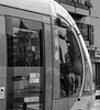 Nice, tramway (Jef ALTERO) Tags: tramway nice reflet visage face reflection black white