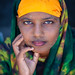 Portrait of a young woman wearing qasil on her face, North-Western province, Berbera, Somaliland