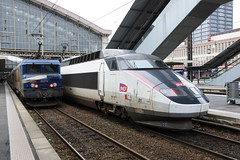 Locomotive BB 22200 RC + TGV SE n°01  ( PSE - Paris / Sud-est ) (CHABOT Christophe) Tags: frenchrailroad frenchrailway frenchtrain tgv tgvse tgv01 tgvsudest garedelille garelilleflandres lilleflandres sncf hauptbahnhof bahnof bahnhof traingrandevitesse hautsdefrance highspeedtrain hochgeschwindigkeitszug psen°01 tgvpsen°01 tgvsen°01 chemindefer französischelokomotive französischerhochgeschwindigkeitszug fasttrain schnellzug schnellzuch héichschnellzug spoorweg spoorwegfrankrijk railwayfrance eisenbahnfrankreich eisenbahnjernbane frankrigjernbaneferrovia franciaferrocarril carmillon livréecarmillon frenchtrainhighspeed train trainhighspeed frenchtrainhighspeedn°01 trainhighspeedn°01 garedelilleflandres