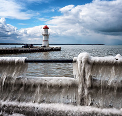 Spring (montrealmaggie) Tags: lachine ice sky blue cold lighthouse sculpture