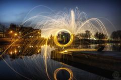 Sparks at Twilight (superdavebrem77) Tags: sparks steelwool bulb lowlight evening