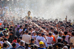 NONGKHAI THAILAND APRIL 18: The people and join parade of the statue of Luang Pho Phra Sai on April 18 2018 in Nongkhai Thailand. (Pramote Polyamate) Tags: phra thailand nongkhai songkran people parade festival statue april luang pho sai water faith pray buddha pour respect travel celebration happiness traditional gold culture asian wet tradition splash walking thai popular splashing worship buddhist colorful ancient buddhism sacred cultural holiday join