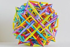 Incomprehensible (Byriah Loper) (Byriah Loper) Tags: origami origamimodular modularorigami modular compound complex cube copypaper crease byriahloper byriah geometric wireframe woven wovensolid octahedral