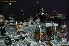 02_Endarmire_Iron_Mine (LegoMathijs) Tags: lego moc legomathijs steampunk mine miners mining rocks iron ore steampowered drones tracked driller flying discovery vehicle explorer speeder transporter transport airship clockwork drone speeders walking steamcopters pickaxe tools crates shaft cranes workshop gears cave docks