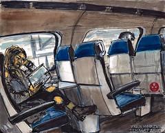 17 maart 2018 (marikestokker) Tags: train girl reading stillmanandbirn urbansketchers usk sketch