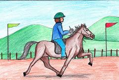 Jockey riding Horse Scene (drawingtutorials101.com) Tags: jockey riding horse scene color pencils pencil sketching how draw sketch drawing drawings speed