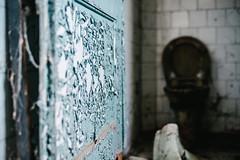 24/30 2017/03 (halagabor) Tags: nikon nikkor vintagelens manualfocus d610 decay derelict urban exploration urbex urbanexploration old lost forgotten army base military budapest hungary hungarian door toilet blue
