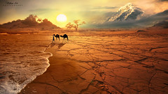Oasis (ИвайлоВеликов) Tags: sun sunrise desert mountain wave camels art fine photoshop landscape