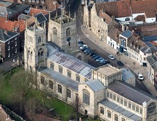 Kings Lynn Minster church - Norfolk aerial
