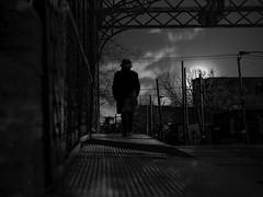 une nuit mystérieuse (photosgabrielle) Tags: photosgabrielle urban moon bwphotography bw bwmontreal griffintown people ambiance pont bridge