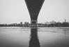 U n d e r n e a t h (0sire) Tags: blackandwhite bw monochrome bridge nyc newyorkcity queens randallsandwardsislandsisland eastriver water reflection astoria manhattan triboroughbridge robertfkennedybridge