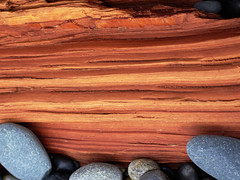 For Your Wall (M L Hannah) Tags: log wood grain colour tones stones rocks beach nature naturallight orange blues outside