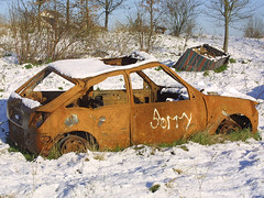 Bedfont, January 9th 2003 (Southsea_Matt) Tags: january 2003 winter canon d30 bedfont england unitedkingdom greaterlondon car vehicle snow joyride vandalism