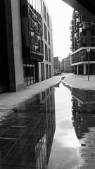 urban reflections 03 (byronv2) Tags: urban reflection reflections puddle water financialdistrict architecture building wet modernarchitecture contemporaryarchitecture tollcross blackandwhite blackwhite bw monochrome