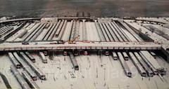"""December 2010 Blizzard: Long Island Rail Road Trains sit idle in the rail yards of Manhattan's West Side"" Photograph, New York Transit Museum, Brooklyn, New York City (jag9889) Tags: 2010 2016 20160612 aerialview anniversary auto automobile blizzard brooklyn car damage downtownbrooklyn hudsonriver indoor kingscounty lirr longislandrailroad mta metropolitantransportationauthority museum ny nyc nytm newyork newyorkcity newyorktransitmuseum noreaster photograph railway river snow subway train transit transportation usa unitedstates unitedstatesofamerica vehicle water waterway westsideyard jag9889"