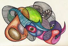 Five Bird doodle (Durley Beachbum) Tags: doodle drawing pencilcrayons