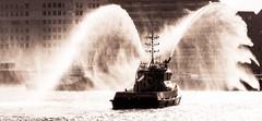 Fireboat Display (Hans Veuger) Tags: nederland thenetherlands amsterdam ij hetij riverij boat ship fireboat blusboot portauthorityofamsterdam nikon b700 coolpix nederlandvandaag twop tegenlicht backlight watergordijn