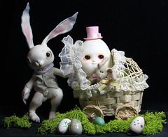 Easter outing (bentwhisker) Tags: dolls bjd resin conarium hare rabbit bunny soom neoangelregion humptydumpty anthro egg easter 5734